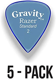 Gravity Picks: Acrylic Guitar Picks with Polished Bevels In Standard Pick Size for Brighter Sound & Tighter Grip - 5 Pack (Razer - Standard, No Grip Holes)