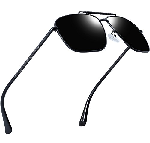 Attcl da uomo Aviator occhiali da sole polarizzati per gli uomini driver Golf pesca Nero Black