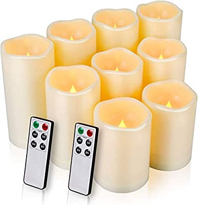 """Flameless Candles, LED Candles Outdoor Candles Waterproof Candles(D: 3"""" x H: 4""""5""""6"""") Battery Operated Candles Plastic Pack of 9 Flameless Pillar Candles from KINGBIG"""