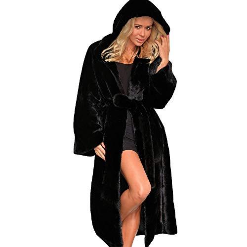 luoluoluo 👯 Cappotti Lunghi Donna Invernali - Donna Elegante Cappotto Lungo Manica Lunga Risvolto Slim Fit Cappotti Trench Giacca - Cappotto Pelliccia Sintetica Donna (Nero, XL)