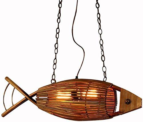 HongLianRiven verlaagd plafond met de hand geweven vis vorm holle lampenkap verstelbare restaurant decoratie lamp antieke stijl bamboe hanglampen bamboe, metaal 12-2