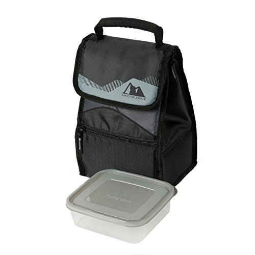 Arctic Zone Insulated Lunch Box (Dark Grey and Black) with Free Food Container