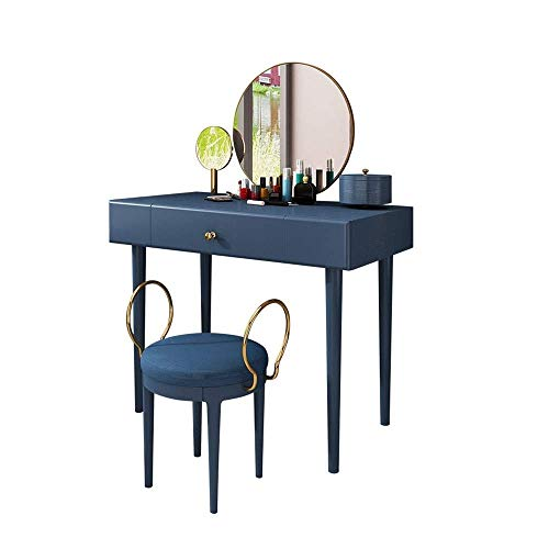 Review Of HIZLJJ Bedroom Makeup Cosmetic Beauty Vanity Hair Dressing Table Set w/Round Mirror, Padde...
