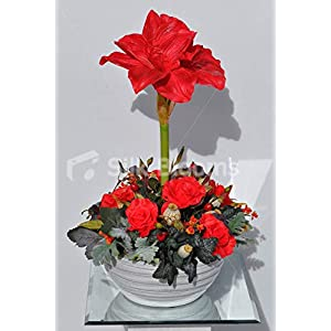 Silk Blooms Ltd Artificial Red Fresh Touch Amaryllis Flower Display w/Roses and Foliage