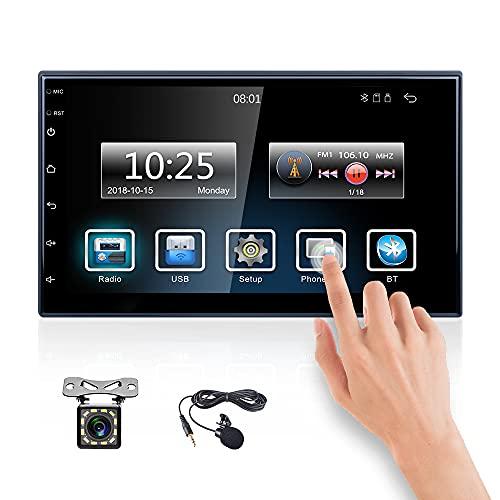 CAMECHO 2 DIN Radio Coche Bluetooth con Carplay FM 7 Pulgadas Pantalla Táctil completa Enlace Espejo de Sistema Dual+ Cámara de Visión Trasera + Micrófono Externo + Doble USB