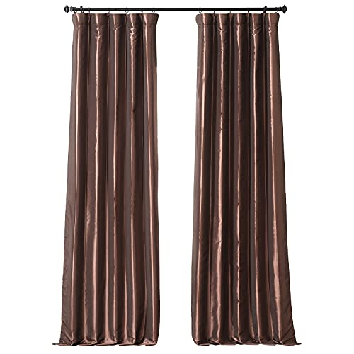 HPD Half Price Drapes PTCH-JTSP209-96 Faux Silk Taffeta Curtain (1 Panel), 50 X 96, Copper Brown