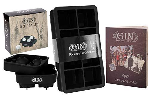 XXL-Eiswürfelform (2er Pack) für je 8 Eiswürfel (5x5cm) im Set mit XXL-Eiskugelform für 4 Eiskugeln (4,5cm Durchmesser) und GRATIS Gin Tonic Rezeptheft