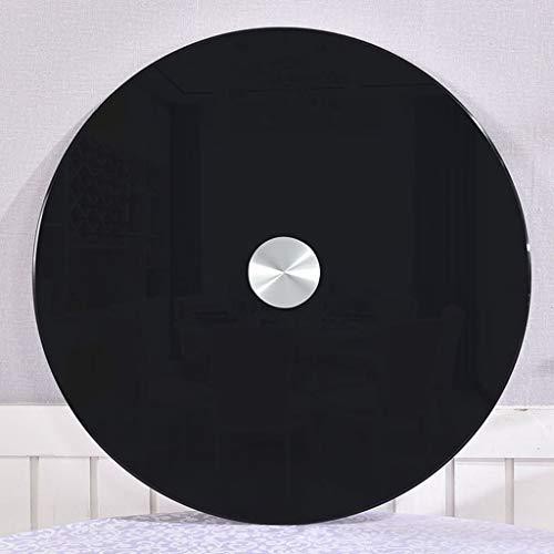 HXZ Tocadiscos de Vidrio Templado Pintado de Negro, Resistente a Altas temperaturas, Base de Mesa Redonda giratoria Susan, Adecuado para cenas Familiares