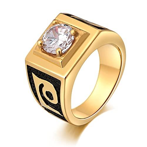 Socoz Anillos de acero para hombre, 4 garras redondas, color negro, anillo para hombre o boda