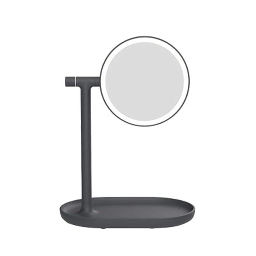 不良反響する雪だるまLED化粧鏡 メイクアップミラー充電式ライトアップバニティ1X / 3X拡大鏡270度回転カウンターサークル化粧鏡 化粧鏡 (色 : ブラック, サイズ : 24x15.8x32cm)