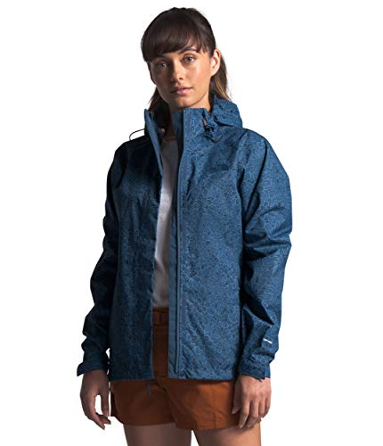 Womens Waterproof Hooded Shady Blue Floral Block Print Rain Jacket