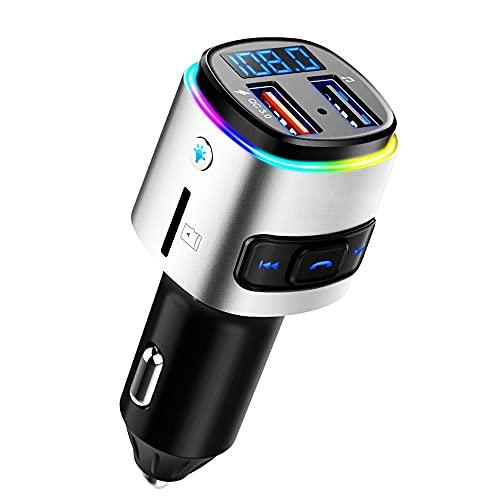 LVYE1 MRMF Transmisor FM, Transmisor De Radio De Coche Manos Libres Kit De Coche Reproductor De Mp3 QC3.0 Cargador De Coche con LED De Colores Soporte USB Drive Tarjeta TF, Luz Colorida