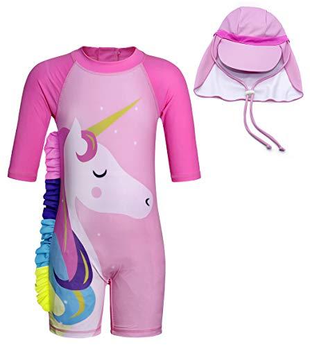 Cotrio Unicórnio de roupa de banho para meninas Fato de Banho One Piece Rash Guard Para O Verão com tampa 3-4 anos rosa