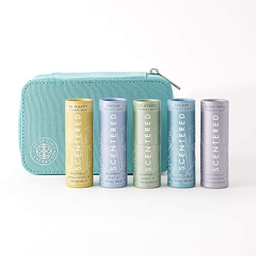 Scentered SIGNATURE COLLECTION Aromatherapy Balm Gift Set - Includes Sleep Well, De Stress, Be Happy Escape & Love