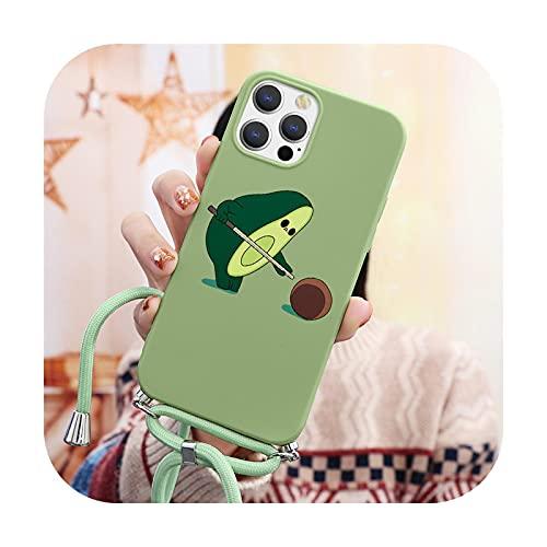 Schutzhülle für iPhone 12 Pro Mini XR XS Max X 7 8 SE 2020 6 6S Plus 10 Cover für iPhone 11 Pro Max Halskette Lanyard Seil Weiche TPU Hülle nygzqiu-Kcls für iPhone SE 2020
