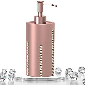 Rose Gold Liquid Hand Soap Dispenser - Countertop Bathroom Soap Dispenser Liquid Soap Dispenser for Bathroom Refillable Liquid soap Dispenser for Kitchen Rust Proof Hand Pump Bathroom Accessory Set