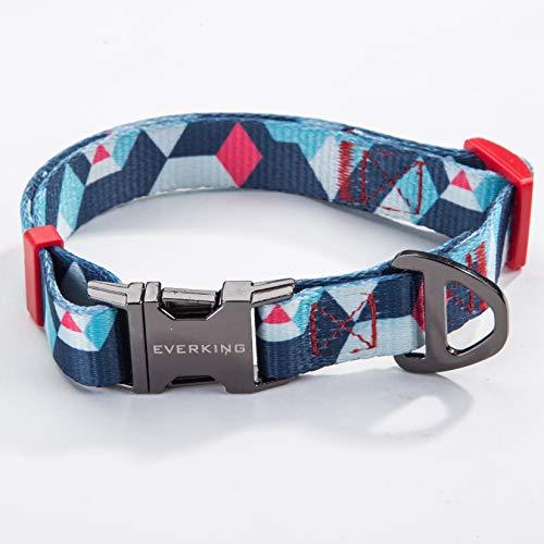 Hundehalsband Verstellbar Modern Mehrfarbig für Große, Mittelgroße, Mittlere und Kleine Hunde, Atmungsaktiv. Hundehalsbänder, Leine und Hundezubehör aus Nylon. (Large, 0202-1)