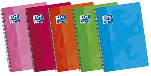 Oxford Classic 100430166 - Pack de 5 cuadernos espiral de tapa blanda, formato A5