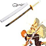 Demon Slayer Mini Toy Katana Llavero con Vaina, 6,7 '' Youtube Demon Slayer Mini Katana Set, Llavero de Espada Kirito Sunwheel de 2 Generaciones para Amantes del Anime (Zenitsu)