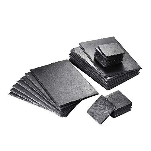MALACASA, Serie Nature.Slate, 32-teilig Set Schieferplatte Schieferplatten in 2 Größe Schiefer Untersetzer Käse Platte Schieferuntersetzer Buffetplatte 12