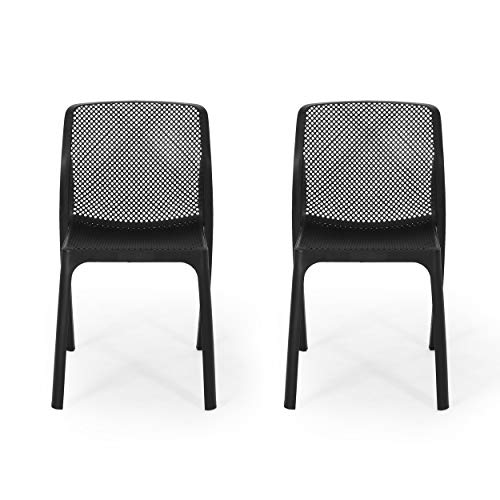 Christopher Knight Home Chelsea Outdoor Plastic Chairs (Set of 2), Black