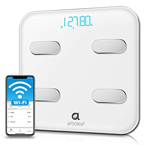 Arboleaf Smart Scale WiFi Bluetooth Weight Scale 14 Body Composition Monitor with iOS Android APP Wireless CloudStorage for Unlimited Data 8 Users BMR BMI Scales Digital Weight and Body Fat