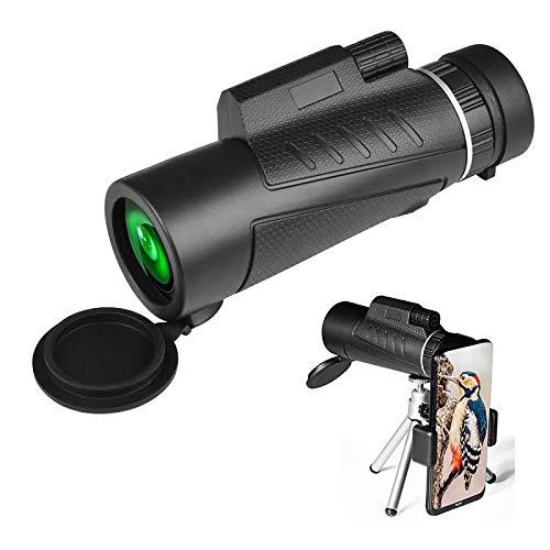 MWKL Monoculo Telescopio, 10x42 HD Monocular Impermeable a Antivaho Portatil con Adaptador De Soporte para Smartphone Y Trípode para Acampar Observación Aves Juego De Fútbol