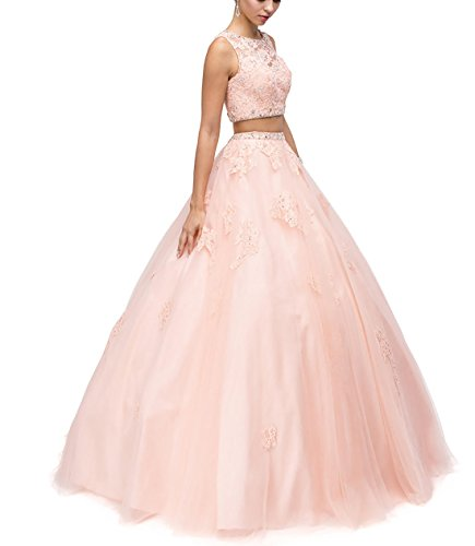 LMBRIDAL Women's Appliques Ball Gown Beaded Quinceanera Two Pieces Prom Pink 4