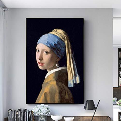 Chica Con Un Pendiente De Perla Lienzo Pinturas En La Pared Clásico Famoso Arte Carteles Y Impresiones Holandés Edad De Oro Arte Fotos-60x90cm Frameless