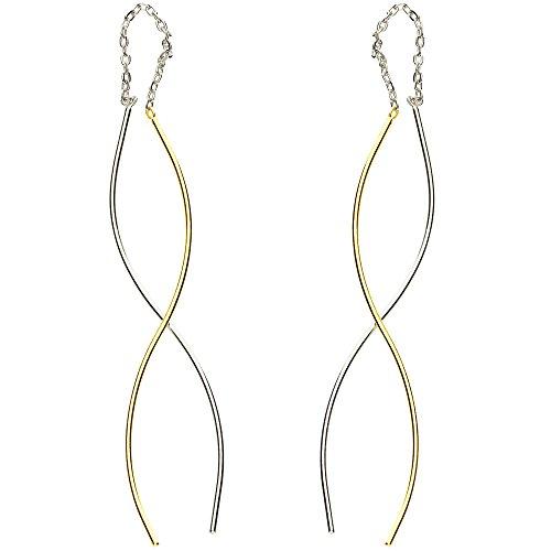 MYA Art Hängende Damen Ohrhänger Durchzieher 925 Sterling Silber Gold Vergoldet mit Spirale Bicolor Ohrringe zum Durchziehen Hängend Lang MYASIOHR-49