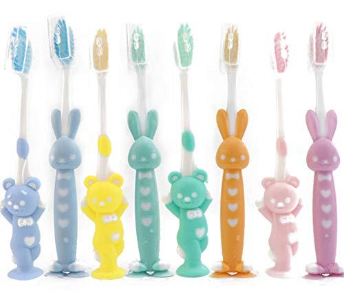 VNDEFUL 8 PCS Cartoon Children Toothbrush Bamboo Charcoal Soft hair Silica Gel Cute Teeth Cleaning Brush Short Handle Toothbrush Set