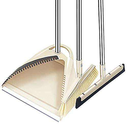 SLC Broom and Dustpan Set, 3 Piece Grips Sweep Set with Dust Pan, Floor Squeegee, 48.3' Long...