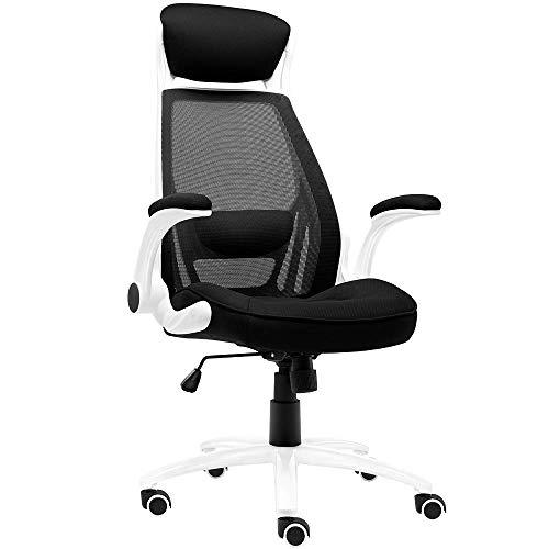 JIEER-C bureaustoel mesh rugleuning hoge stoel bureaustoel draaistoel kruk stoel huis leuning ergonomisch gevormde rugleuning Bella robuuste stoel gewicht 200 kg wit
