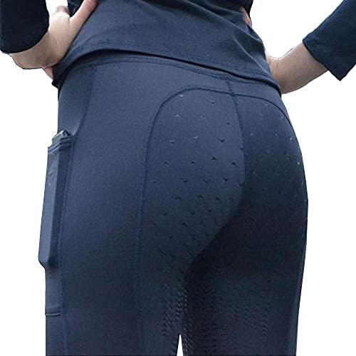 VerOut Pantalones de Yoga Gimnasio de Cintura Alta de Cintura para Mujer Control de la Abdomen Entrenamiento Deportivo Pantalones para Correr Pantalones Confort Estiramientos Medias,Azul,L