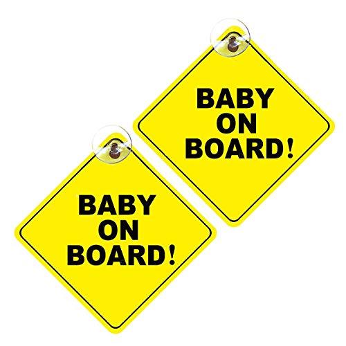 JIeGuanG Baby on Board Schild, 2 abnehmbare Kinder-Sicherheits-Warnaufkleber mit Saugnäpfen