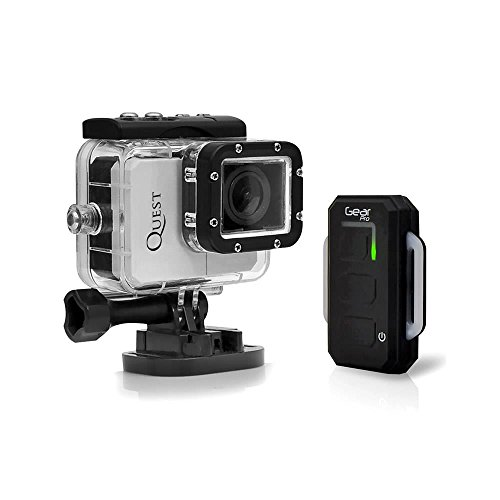 Gear Pro Quest Wi-Fi Action Cam, Full HD Hi-Resolution 1080p Video, 16 Mega Pixel Camera, 2.0'' LCD Display, Wireless Remote, Free Downloadable App, Waterproof Case, Silver