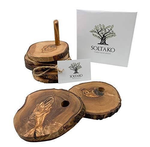 SOLTAKO Untersetzer aus hochwertigem Olivenholz natürlich und unbehandelt in rustikal rund Durchmesser ca. 12 cm als Set 6tlg.