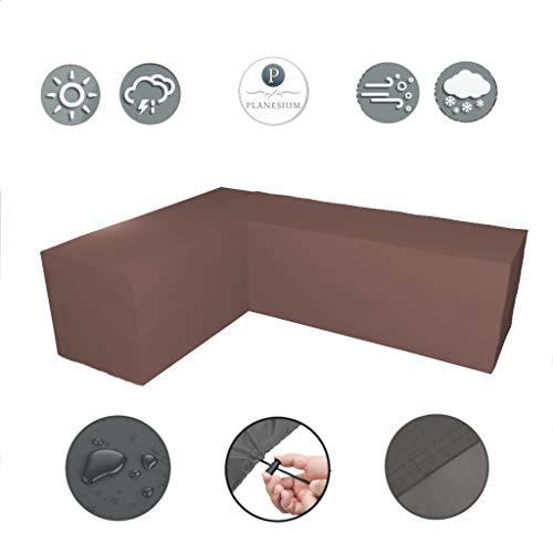 Planesium Premium tuinmeubelen L-vorm lounge meubilair afdekking, balkon outdoor beschermhoes, eetgroep, lounge meubels, set dekzeil, 575 g/m B 250cm x T 250cm x LE 80cm x H 85cm koffie latte