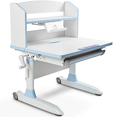 Ilogicase Kids Study Desk | Height Adjustable Children Table with Book Holder Stand and Drawer Storage | Ergonomic Desktop for Writing, Drawing and Painting | Home School use (Kids Desk 501, Blue)
