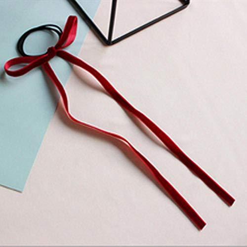 Fijnere 1 stks/pak vrouwen meisjes eenvoudige fluwelen strik elastische haarband meisjes lange kwastje haar banden bands vrouwen haaraccessoires, bordeaux
