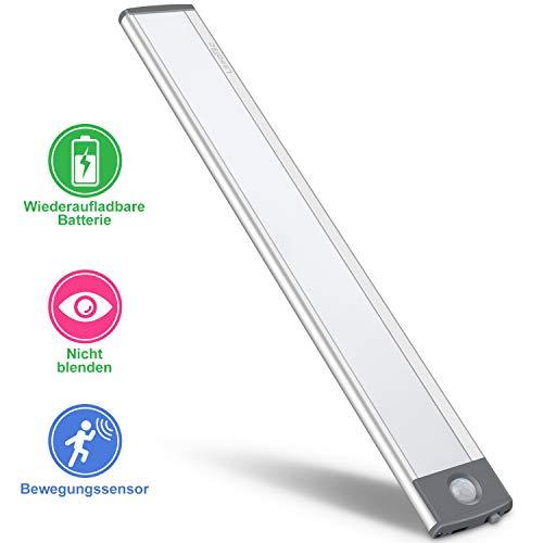 LED Bewegungsmelder Schrankleuchten,USB Wiederaufladbar Batterie Nachtlicht Schranklicht, Kleiderschrank Lampen Unterbauleiste Beleuchtung Küchenlampen, Schrankbeleuchtung Sensor Licht(Neues Modell)