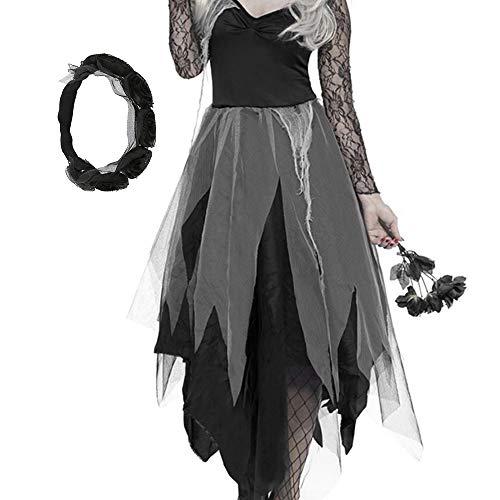 Iraza Disfraces Encaje de Halloween Mujer Fantasma del Bruja XL (2XL)