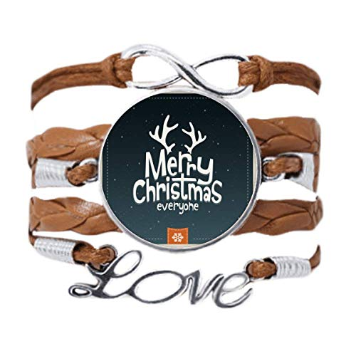 DIYthinker Merry Christmas Reindeer Cartoon Pattern Bracelet Love Chain Rope Ornament Wristband Gift