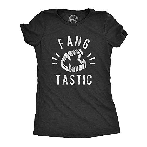 Womens Fangtastic Tshirt Funny Halloween Vampire Teeth Graphic Novelty Tee (Heather Black) - L