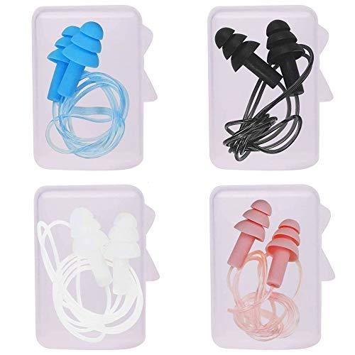 4 Paar Silikon Ohrenstöpsel,Sport Ohrstöpsel, Wiederverwendbare Kabel Ohrstöpsel zum Schlafen, Wasserdicht Gehörschutz Ohrstöpsel Set mit Box,für Schlafen, Schwimmen, Baden und Reisen(Zufällige Farbe)