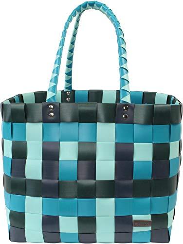 normani® Einkaufstasche Shopper geflochten aus Kunststoff - robuster Strandkorb Vintage Style 38cm x 25cm x 28cm Farbe Classic/Ocean