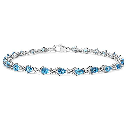 The Blue Topaz Collection: Ladies Sterling Silver 24 Stone Pear Shape Blue Topaz Bracelet, Mother's Day, Anniversary