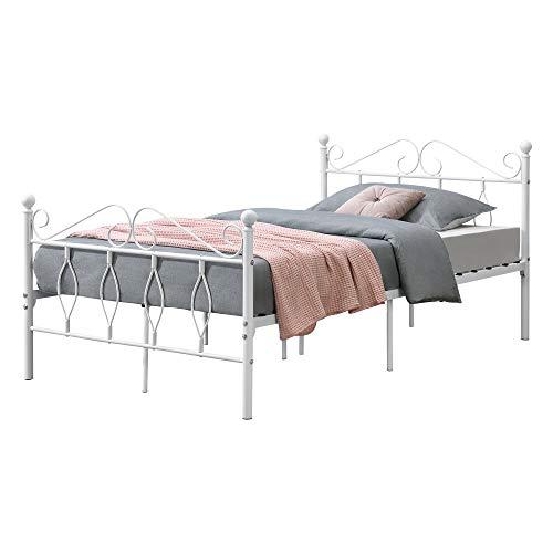 [en.casa] Metallbett 120x200 cm Jugendbett mit Kopf-und Fußteil Einzelbett Bettgestell Metallgestell mit Lattenrost bis 300kg Weiß