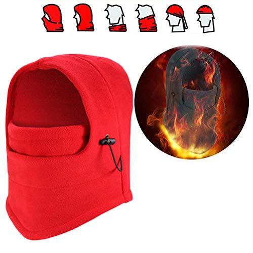 Balaclava gezichtsmasker, winddicht volgelaatsmasker verstelbaar skimasker voor fietsen, skiën, motorrijden, warme bivakmuts, wintersport, outdoor rood