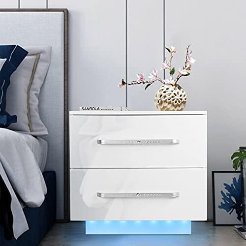 ARONTOME Mesita de noche, moderna mesa de noche LED, organizador de almacenamiento de gabinete, mesa auxiliar de sofá cama, muebles de dormitorio para el hogar, mesita de noche (blanco)